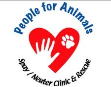 People For Animals (Hillside, New Jersey) of red heart, white hand, white paw, spay / neuter clinic & rescue