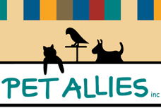 Pet Allies (Show Low, Arizona) logo of black cat, dog, bird, pet allies inc