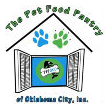 Pet Food Pantry of Oklahoma City (Oklahoma City, Oklahoma) logo is a house with paw prints over the door & a fish & bone inside