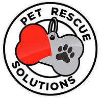 Pet Rescue Solutions (South El Monte, California) logo of red heart, paw print, dog tag, circle, pet rescue solutions