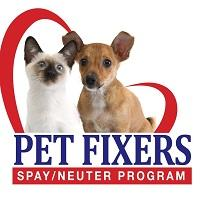 Pet Fixers – Spay/Neuter Assistance Program (Bemidji, Minnesota) logo is a partial-heart around a dog and cat above the org name