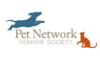 Pet Network Humane Society (Incline Village, Nevada) logo is a jumping dog and a sitting cat on opposite sides of the org name