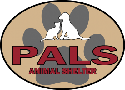"Pets A-Lone Sanctuary (Troy, Missouri) logo is a white dog and cat sitting in front of a pawprint with ""PALS Animal Shelter"""