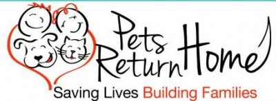 Pets Return Home (Cottonwood, Arizona) logo of orange heart, dogs, people, smiling, saving lives, building families