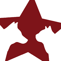 Pets for U.S. Heroes (Deerfield, Illinois) logo is a maroon star with white dog and cat profiles on each side