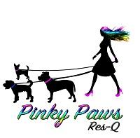 Pinky Paws ResQ (Fowler, California) logo is a woman with multi-colored hair and pink shoes walking three dogs