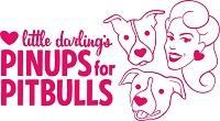 Pinups for Pit Bulls (Weaverville, North Carolina) logo is a woman with a heart earring and two pit bulls with heart noses