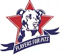 Players For Pits NFP PFP (Schaumburg, Illinois) logo of Pitbull, pittie, red star, blue ribbon, players for pits