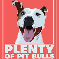 Plenty of Pit Bulls (Gainesville, Florida) logo of smiling pit bull with tongue out, big head, big heart, pure heart