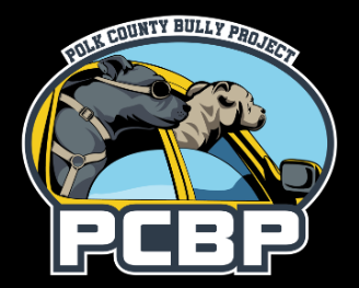 Polk County Bully Project (Lakeland, Florida) logo with a gray dog and a tan dog with their heads out the car window