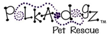 Polka Dogz Pet Rescue (Oakland, Florida) logo with black and purple letters