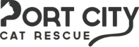 "Port City Cat Rescue (Shreveport, Louisiana) logo is the organization name with a cat head in the ""P"" and a cat tail on the ""y"""