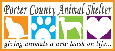 Porter County Animal Shelter (Valparaiso, Indiana) logo is a cat, pawprint, dog, and heart in a different colored square