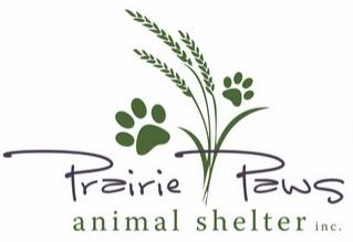 Prairie Paws Animal Shelter (Ottawa, Kansas) logo is the organization name with shoots of tall grass and two paw prints