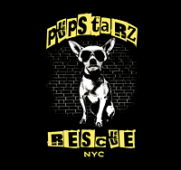 PupStarz Rescue (New York, New York) logo is a Chihuahua with sunglasses and the org name in cutout block letters