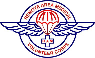 Remote Area Medical (Rockford, Tennessee) logo red parachute with blue wings with medical cross
