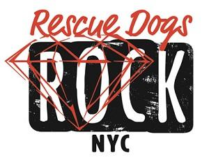 Rescue Dogs Rock Inc. (New York, New York) logo is the org name in black, white, and red with a red diamond outlined on it