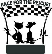 Race for the Rescues Inc. (Grayson, Georgia) logo is a dog and cat under a checkerboard banner watching running people