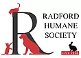"""Radford Humane Society (Radford, Virginia) logo is an """"R"""" and the org name with 2 cats, a dog, and a rabbit"""