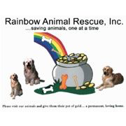 Rainbow Animal Rescue, Inc. (Norfolk, Virginia) logo is three dogs around a pot of gold with a rainbow and bones