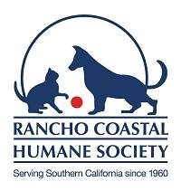 Rancho Coastal Humane Society (Encinitas, California) logo is a dog and cat playing with a red ball above the organization name