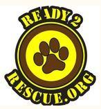 Ready 2 Rescue (Mesquite, Texas) logo is a pawprint in a circle surrounded by the organization website address