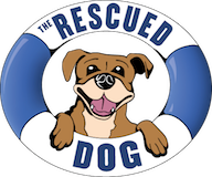 The Rescued Dog (San Diego, California) | logo of navy and white life preserver, brown smiling dog, text of The Rescued Dog