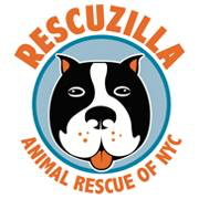 Rescuzilla Animal Rescue of NYC (New York, New York) logo is a black and white dog face in a circle with a blue background