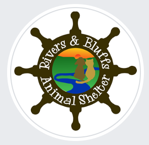 Rivers and Bluffs Animal Shelter (Prairie du Chien, Wisconsin) logo with anchor with cat and dog in center