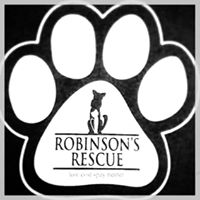 Robinson's Rescue (Shreveport, Louisiana) logo is a pawprint with a dog, cat, and the org name in the paw pad