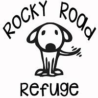 Rocky Road Refuge (Saint Jo, Texas) logo is a dog wagging its tail in the middle of the organization name