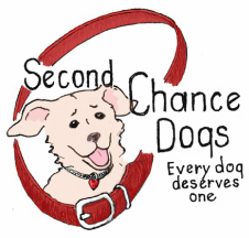 Second Chance Dogs (McKenna, Washington) | logo of brown dog, red collar, smiling, second chance dogs, every dog deserves one
