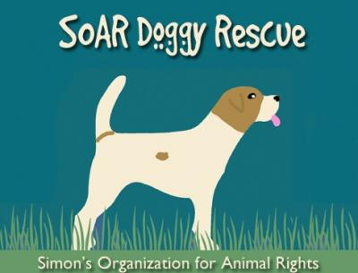 SOAR Doggy Rescue (Arlington, Tennessee) logo is a brown and white dog standing in grass with its tongue sticking out