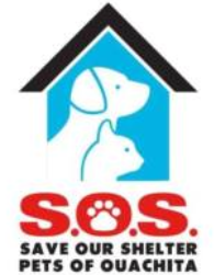 SOS Pets of Ouachita (West Monroe, Louisiana) logo is silhouette of dog and cat on blue doghouse background above org name