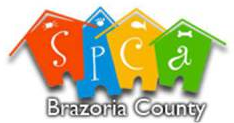 SPCA of Brazoria County (Lake Jackson, Texas) | logo of four red, blue, yellow, green houses, SPCA letters, Brazoria County