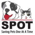 SPOT - Saving Pets One at a Time, (San Marcos, California) logo black and white dog and cat with red tongue