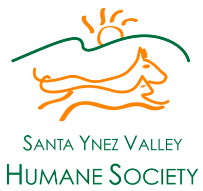 Santa Ynez Valley Humane Society (Buellton, California) | logo of green hill, yellow sun, yellow cat and dog running, DAWG
