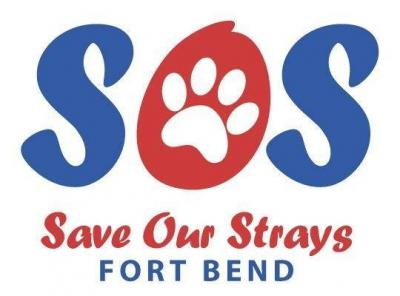 "Save Our Strays Fort Bend (Sugar Land, Texas) logo is ""SOS"" with a pawprint in the middle of the ""O"""