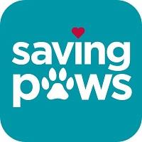 "Saving Paws (Meriden, Connecticut) logo is the org name with a heart dotting the ""i"" and a pawprint ""a"" in ""paws"""