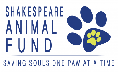 Shakespeare Animal Fund (Reno, Nevada) logo saving souls one paw at a time blue and green pawprints