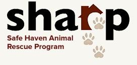 "Safe Haven Animal Rescue Program (SHARP) (Benton, Tennessee) logo is ""sharp"" with a house, heart cutout, and pawprints"