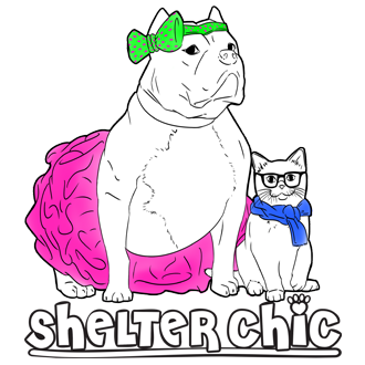 Shelter Chic (New York, New York) | logo of pit bull dog in tutu, cat in blue scarf, glasses, cartoon Shelter Chic, paw print
