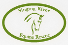Singing River Equine Rescue (Florence, Alabama) | logo of green horse silhouette, oval, Singing River Equine Rescue