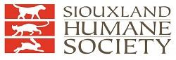 Siouxland Humane Society (Sioux City, Iowa) logo is red boxes with a dog, cat, and rabbit inside next to the organization name