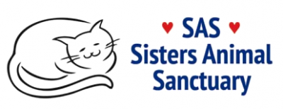 """Sisters Animal Sanctuary (Elk Grove, California) logo is the outline of a cat next to """"SAS"""" with hearts on either side"""