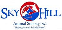 Sky Hill Animal Society (Selma, Alabama) logo is a circle with a hand holding a cat, dog and horse in the middle of the org name
