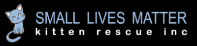 Small Lives Matter Kitten Rescue (Ponte Vedra, Florida) logo with blue cartoon cat to the left of the logo in blue letters