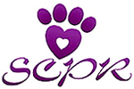 Southern California Pomeranian Rescue (Irvine, California) | logo of purple heart, pawprint, SCPR