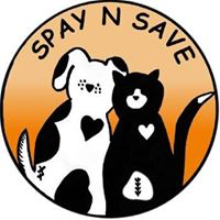 Spay N Save (Longwood, Florida) | logo of orange circle, black cat, white and black dog, heart, spay n save animal clinic