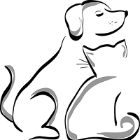 Spay California Now (Salinas, California) logo is a drawing of a dog sitting next to a cat